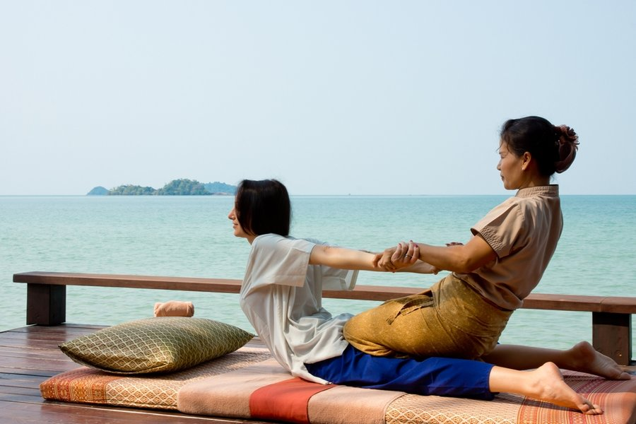 Thai massages are over clothes and tend to involve acrobatic type moves
